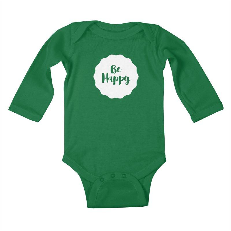 Be Happy (white) Kids Baby Longsleeve Bodysuit by Shane Guymon