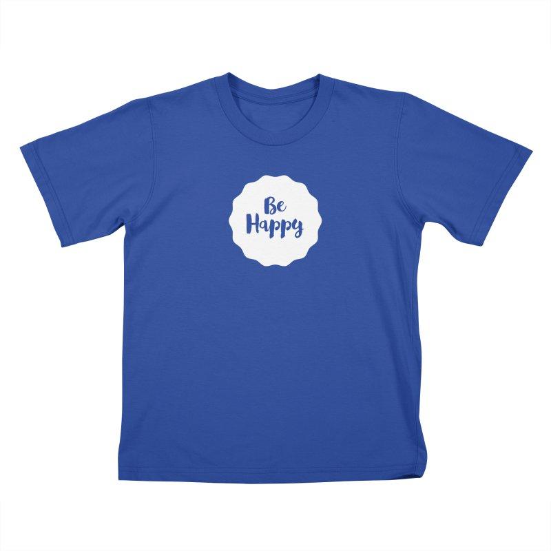 Be Happy (white) Kids T-Shirt by Shane Guymon