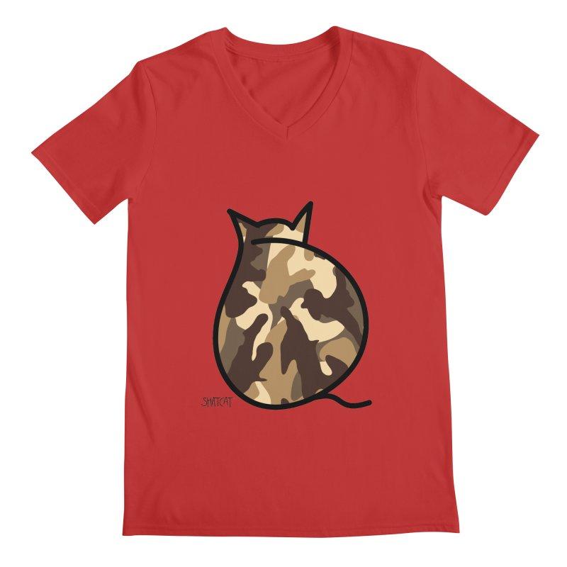 Camo Kitty #2 Men's Regular V-Neck by ShatCat