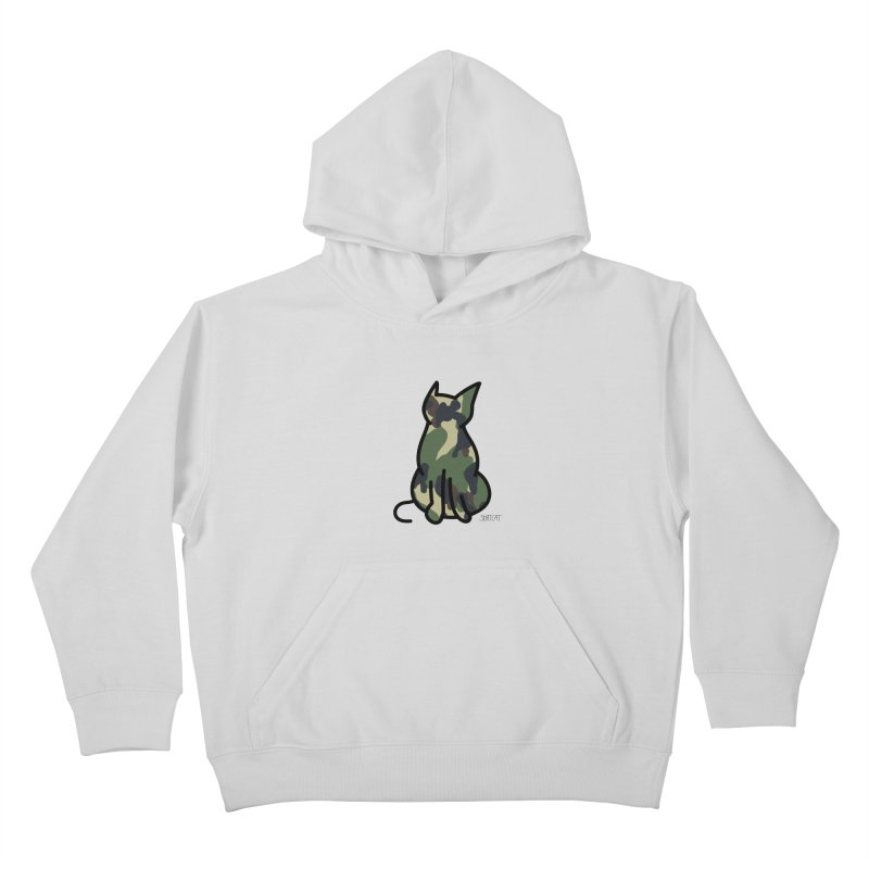 Camo Kitty #1 Kids Pullover Hoody by ShatCat
