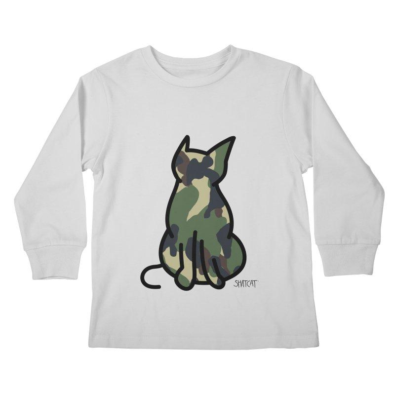 Camo Kitty #1 Kids Longsleeve T-Shirt by ShatCat