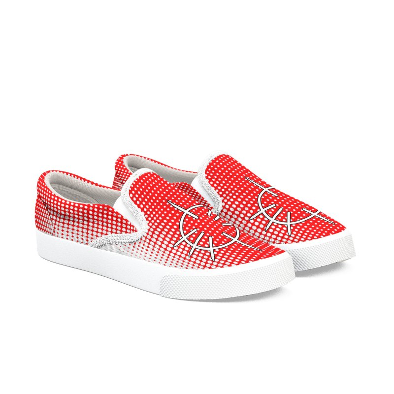 Center Drum - Red Men's Slip-On Shoes by Shawnee Rising Studios