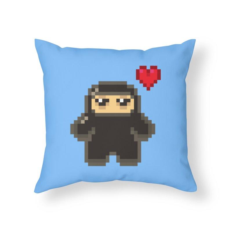 Pixel Ninja Love Home Throw Pillow by Shawnimals