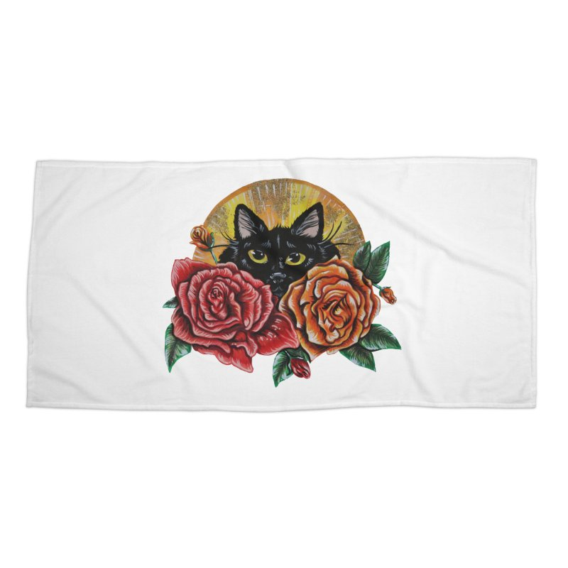Black Cat Garden Accessories Beach Towel by Shay MacMorran's Artist Shop