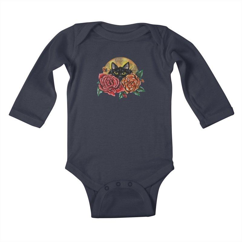 Black Cat Garden Kids Baby Longsleeve Bodysuit by Shay MacMorran's Artist Shop