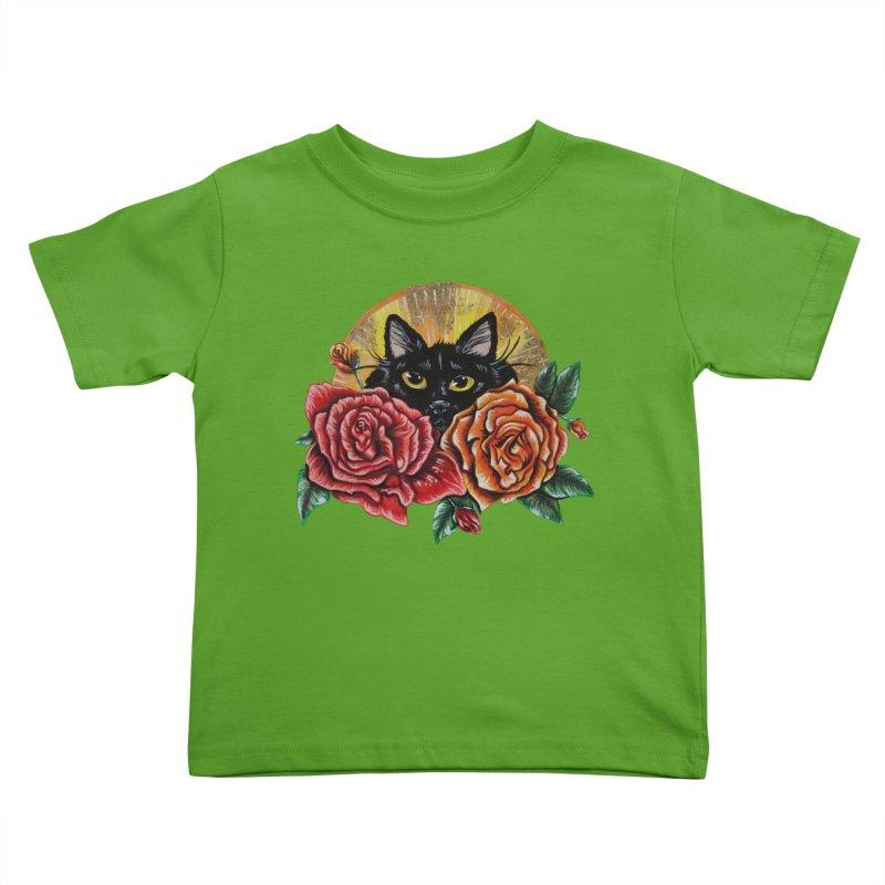 Black Cat Garden Kids Toddler T-Shirt by Shay MacMorran's Artist Shop