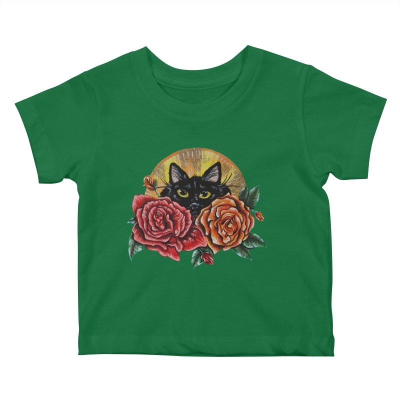 Black Cat Garden Kids Baby T-Shirt by Shay MacMorran's Artist Shop