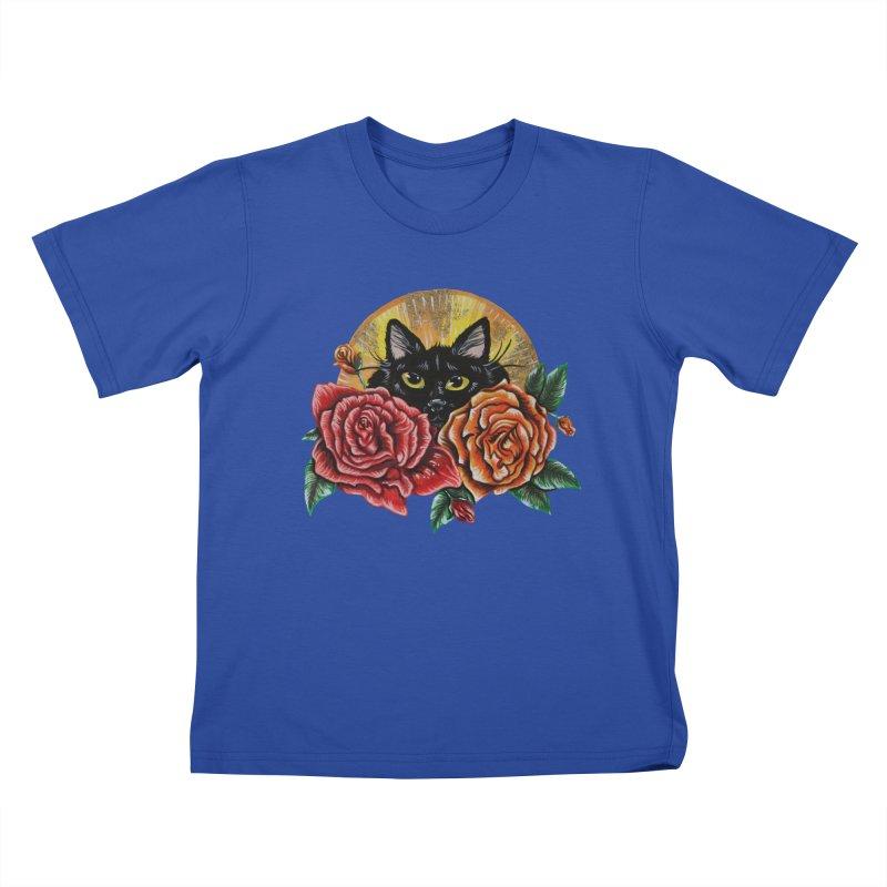 Black Cat Garden Kids T-Shirt by Shay MacMorran's Artist Shop