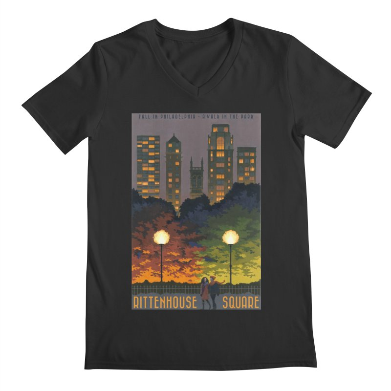 Rittenhouse Square is a Walk in the Park Men's V-Neck by Sheaffer's Artist Shop