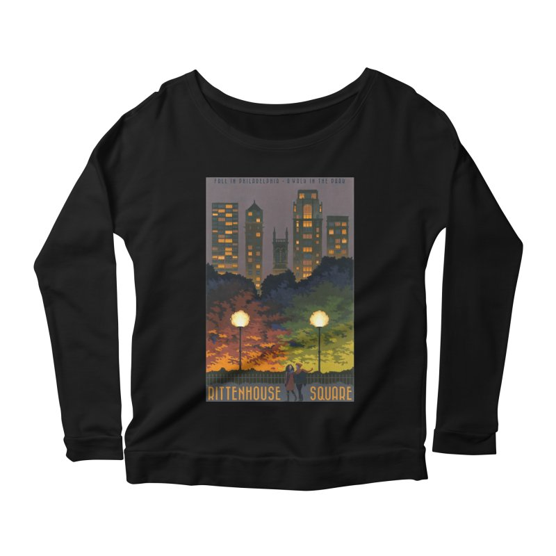 Rittenhouse Square is a Walk in the Park Women's Longsleeve Scoopneck  by Sheaffer's Artist Shop