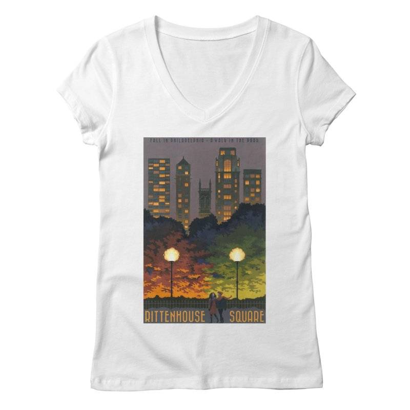 Rittenhouse Square is a Walk in the Park Women's V-Neck by Sheaffer's Artist Shop