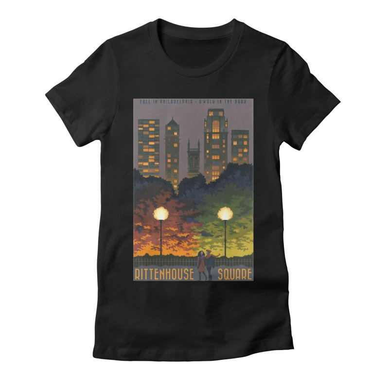 Rittenhouse Square is a Walk in the Park Women's Fitted T-Shirt by Sheaffer's Artist Shop