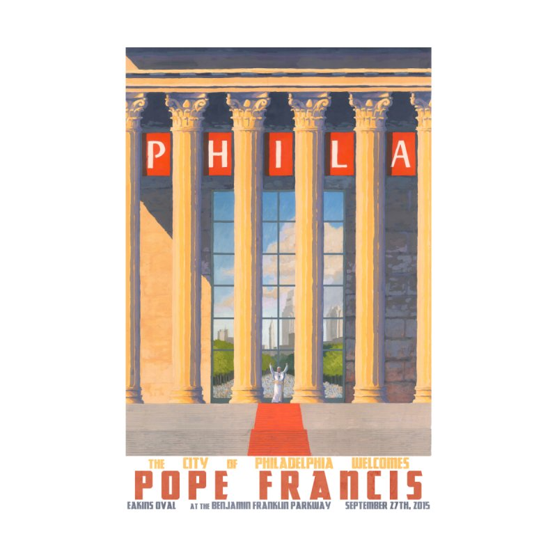 Philadelphia Welcomes Pope Francis Men's T-Shirt by Sheaffer's Artist Shop