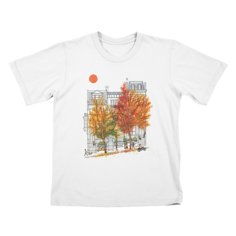 Autumn Cityscape Kids T-shirt by Sheaffer's Artist Shop