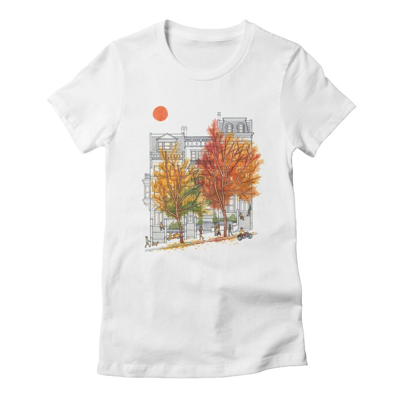 Autumn Cityscape Women's Fitted T-Shirt by Sheaffer's Artist Shop