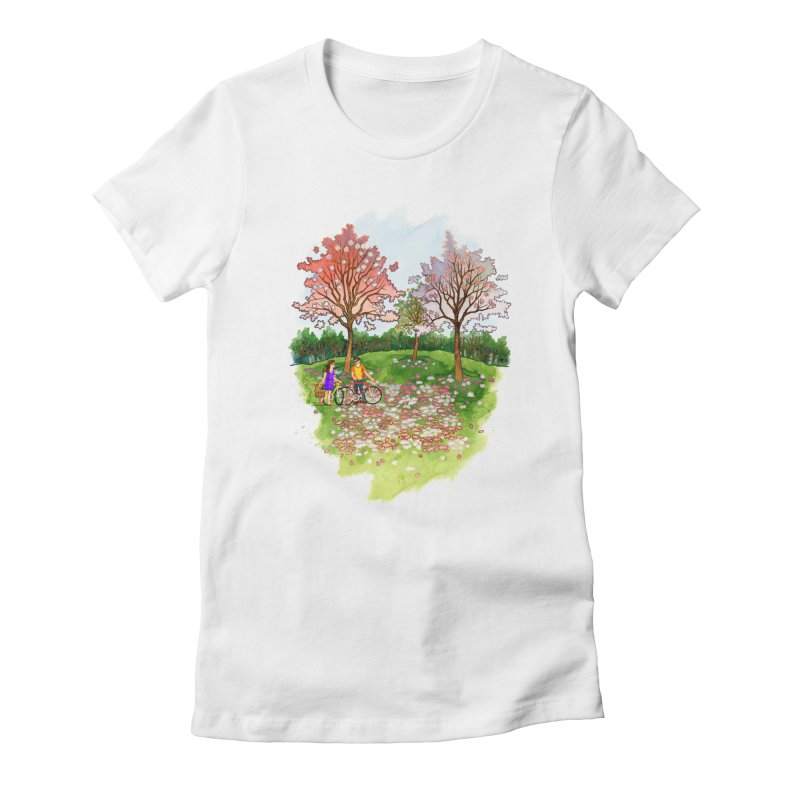 Perfect Place for a Picnic in Women's Fitted T-Shirt White by Sheaffer's Artist Shop