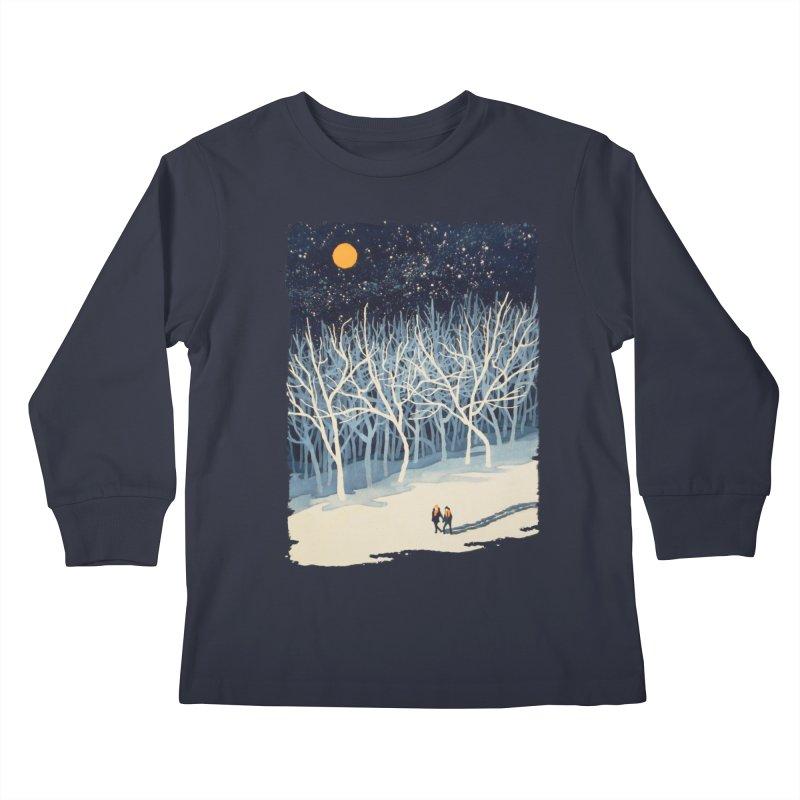 If on a Winter's Night... Kids Longsleeve T-Shirt by Sheaffer's Artist Shop