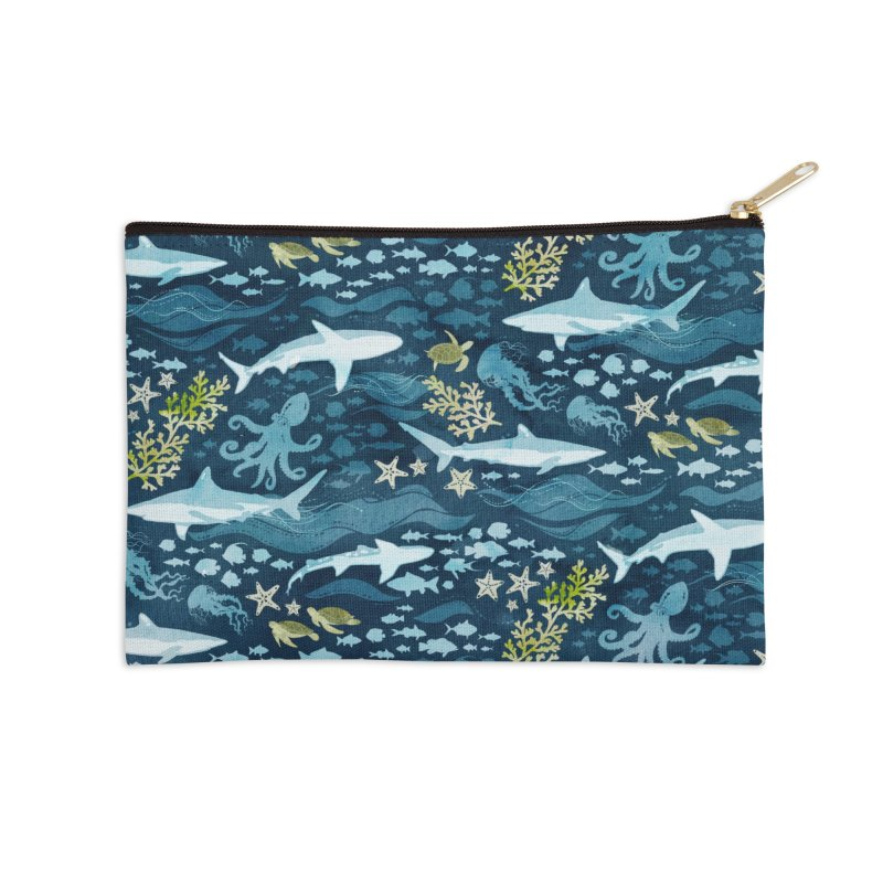 Shark Ocean Accessories Zip Pouch by Shedd Aquarium's Artist Shop