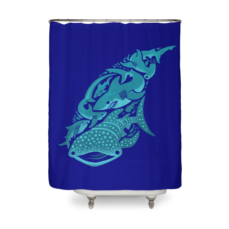 Shark Shapes Home Shower Curtain by Shedd Aquarium's Artist Shop
