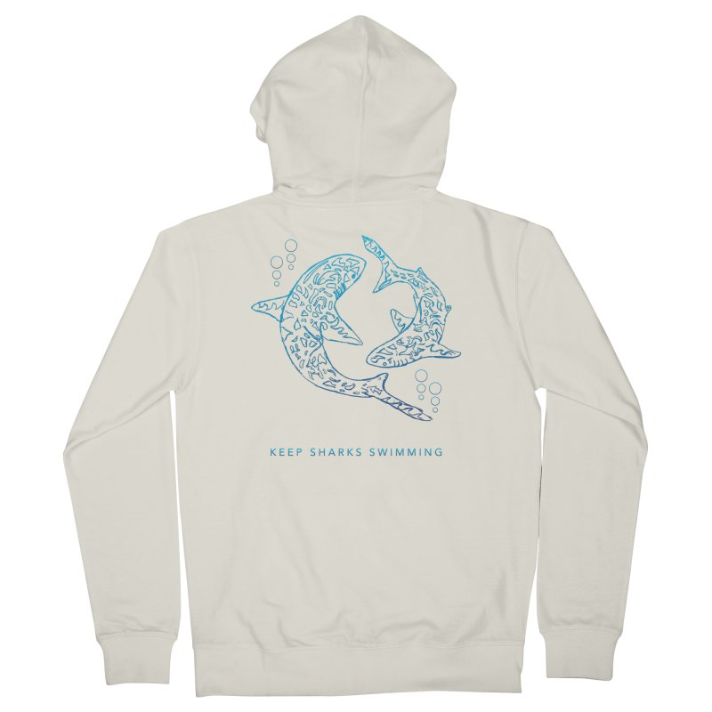 Sharks Make The Ocean Go Around Women's French Terry Zip-Up Hoody by Shedd Aquarium's Artist Shop