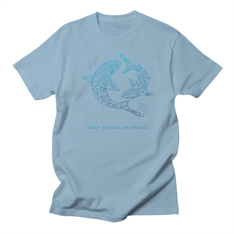 Sharks Make The Ocean Go Around in Men's Regular T-Shirt Light Blue by Shedd Aquarium's Artist Shop