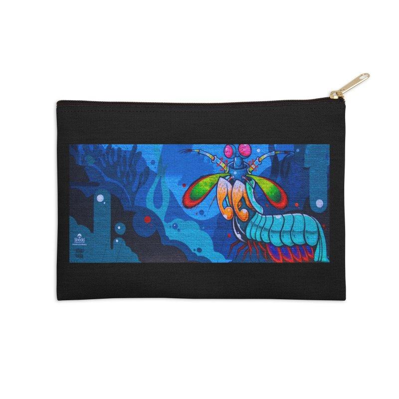 Anthony Lewellen - Mantis Shrimp Mural Design Accessories Zip Pouch by Shedd Aquarium's Artist Shop