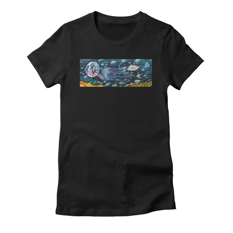 Caesar Perez - Moon Jellies Mural Design Women's T-Shirt by Shedd Aquarium's Artist Shop