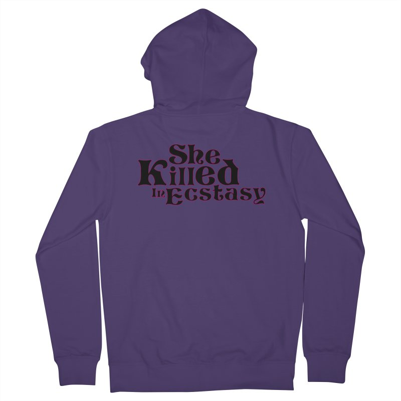 SKIE - Black Logo Women's French Terry Zip-Up Hoody by She Killed In Ecstasy