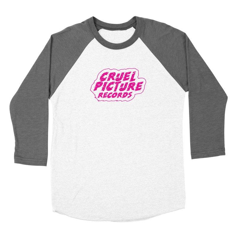 Cruel Picture Records Basic Logo (Magenta) Men's Baseball Triblend Longsleeve T-Shirt by She Killed In Ecstasy