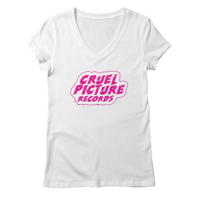 Cruel Picture Records Basic Logo (Magenta) Women's Regular V-Neck by She Killed In Ecstasy