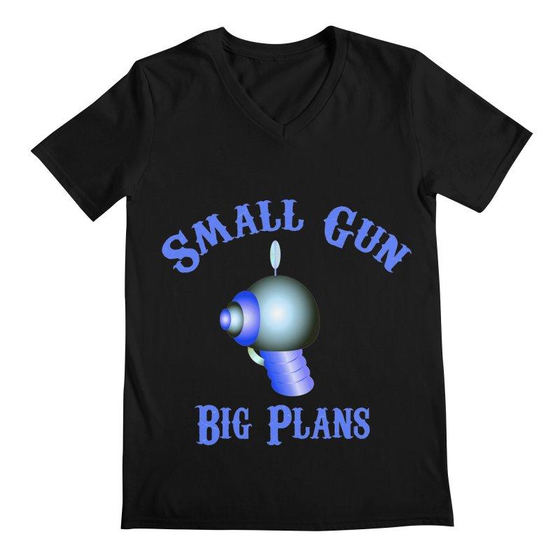 Small Gun, Big Plans Men's V-Neck by Shelly Still's Artist Shop