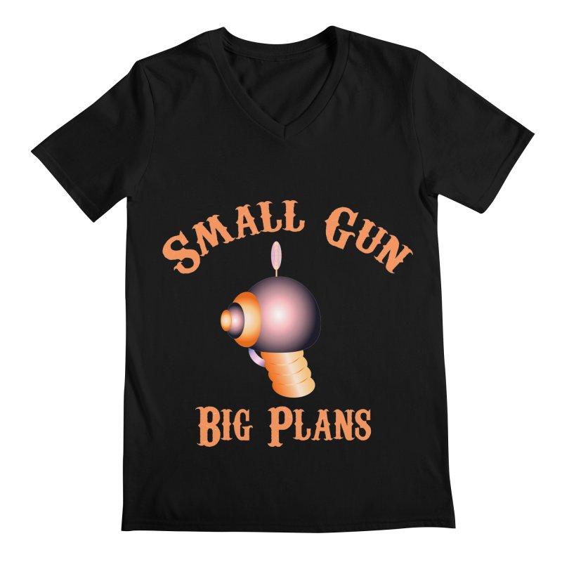 Small Gun Big Plans Men's V-Neck by Shelly Still's Artist Shop