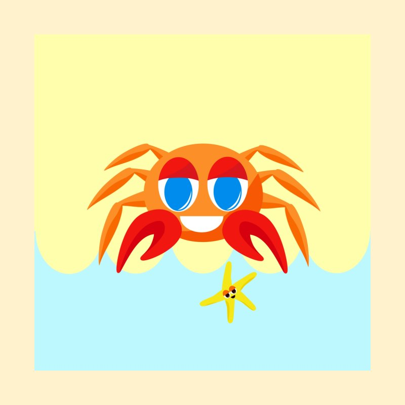 Mr Crab on the Beach by Shelly Still's Artist Shop