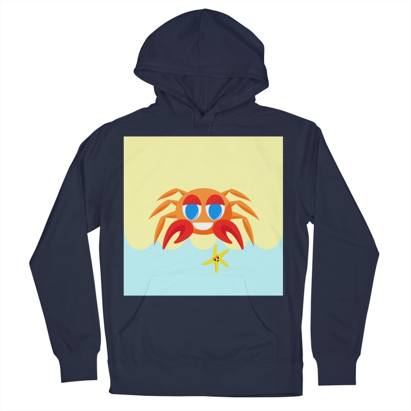 Mr Crab on the Beach Men's Pullover Hoody by Shelly Still's Artist Shop