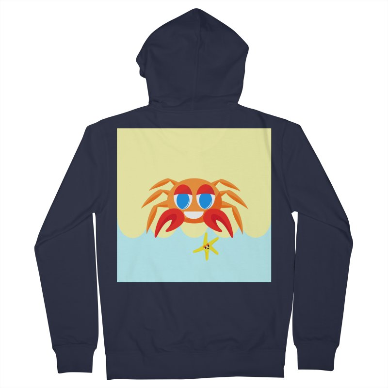 Mr Crab on the Beach Men's Zip-Up Hoody by Shelly Still's Artist Shop