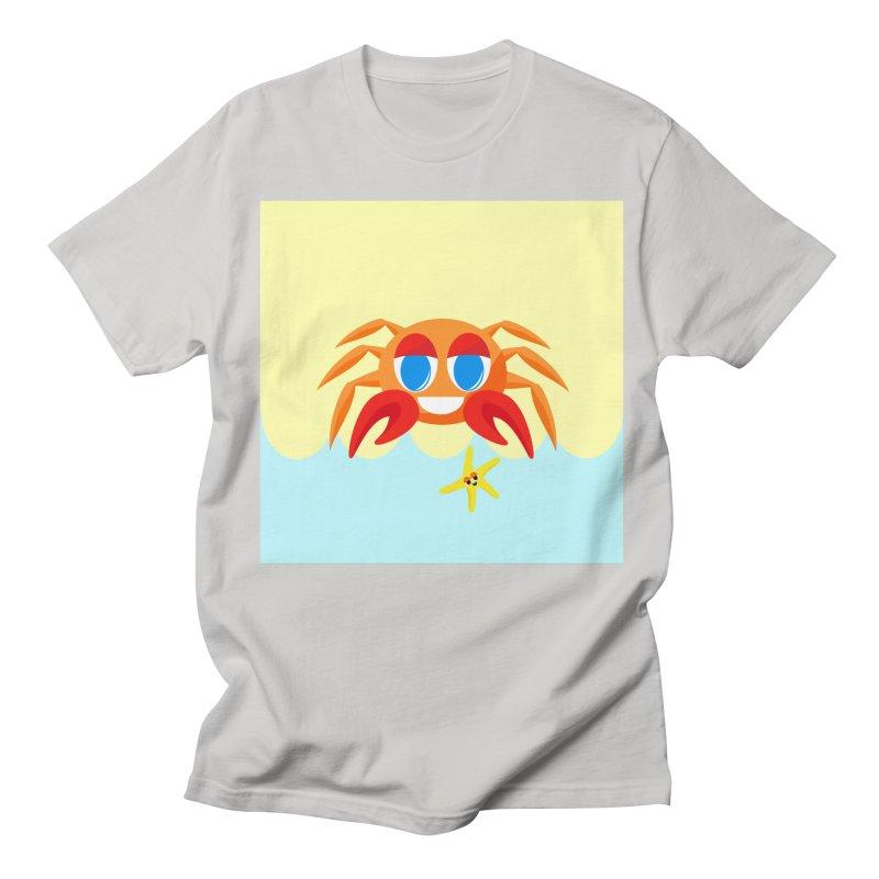 Mr Crab on the Beach Men's T-shirt by Shelly Still's Artist Shop