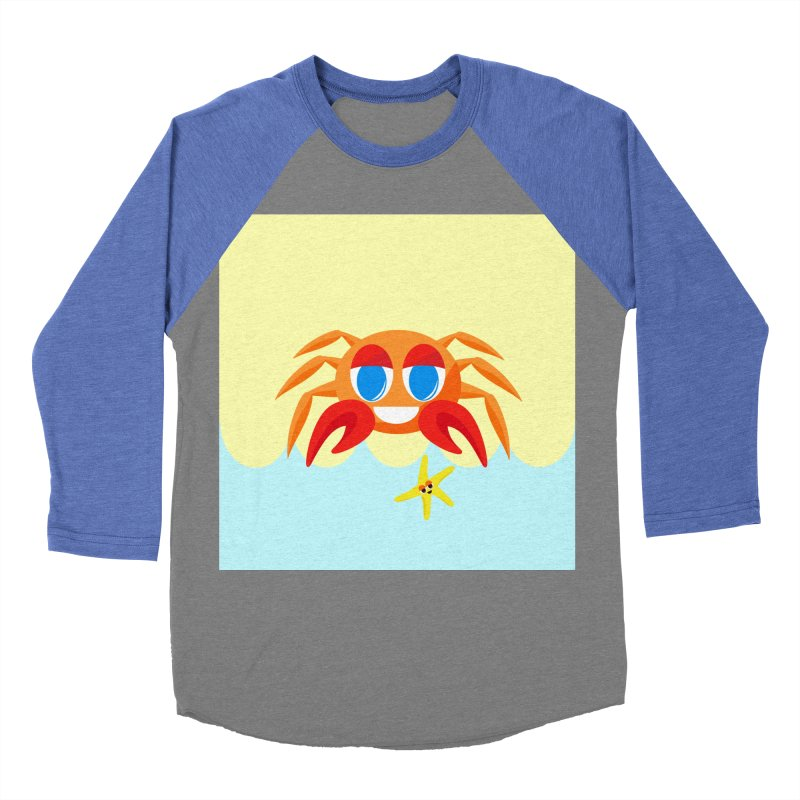 Mr Crab on the Beach Women's Baseball Triblend T-Shirt by Shelly Still's Artist Shop