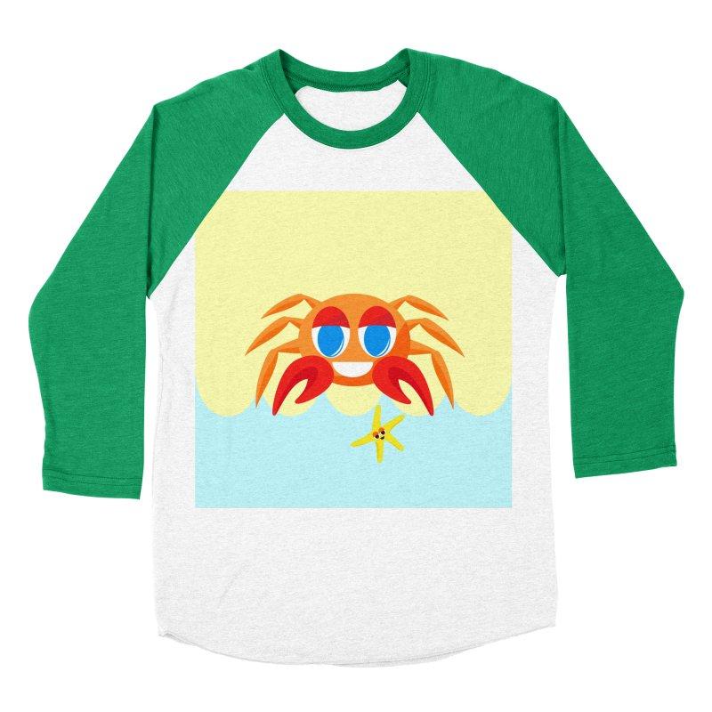 Mr Crab on the Beach Men's Baseball Triblend T-Shirt by Shelly Still's Artist Shop