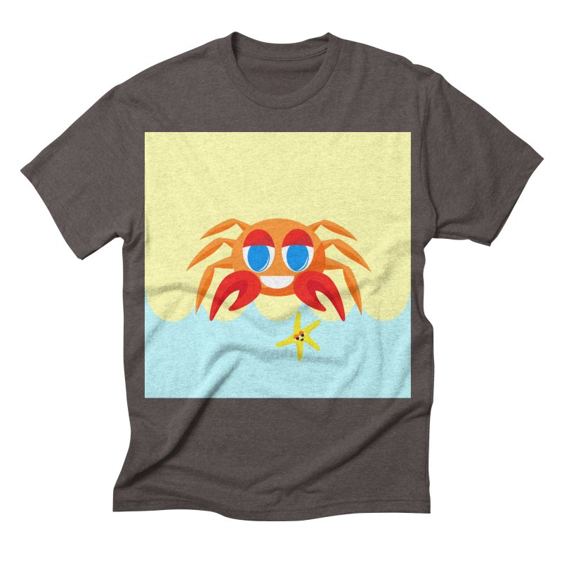 Mr Crab on the Beach Men's Triblend T-shirt by Shelly Still's Artist Shop