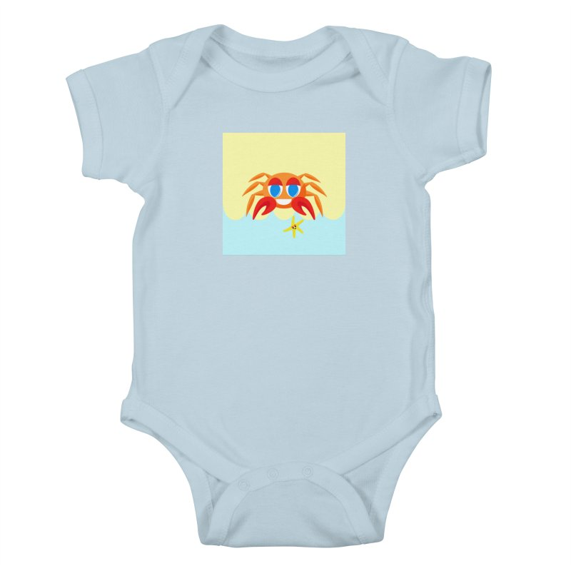 Mr Crab on the Beach Kids Baby Bodysuit by Shelly Still's Artist Shop