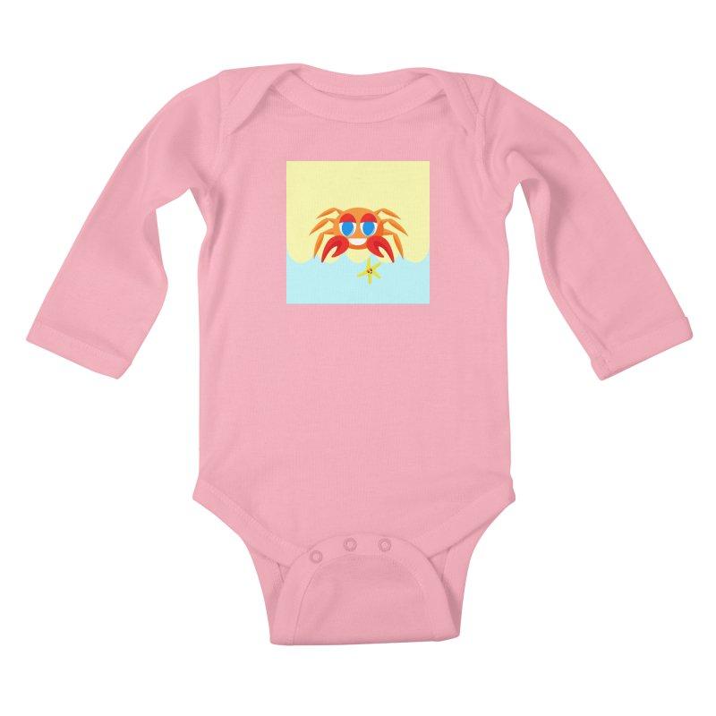 Mr Crab on the Beach Kids Baby Longsleeve Bodysuit by Shelly Still's Artist Shop
