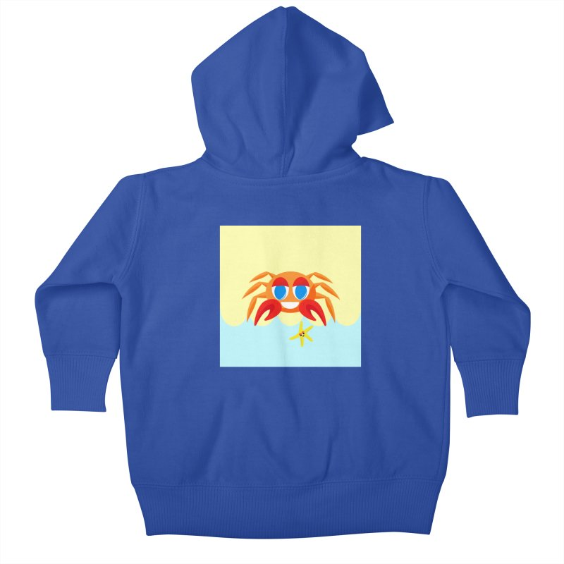 Mr Crab on the Beach Kids Baby Zip-Up Hoody by Shelly Still's Artist Shop