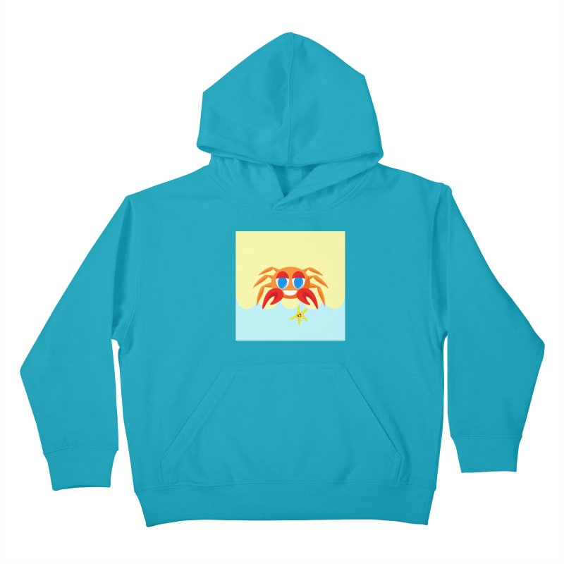 Mr Crab on the Beach Kids Pullover Hoody by Shelly Still's Artist Shop