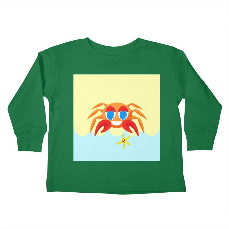 Mr Crab on the Beach Kids Toddler Longsleeve T-Shirt by Shelly Still's Artist Shop