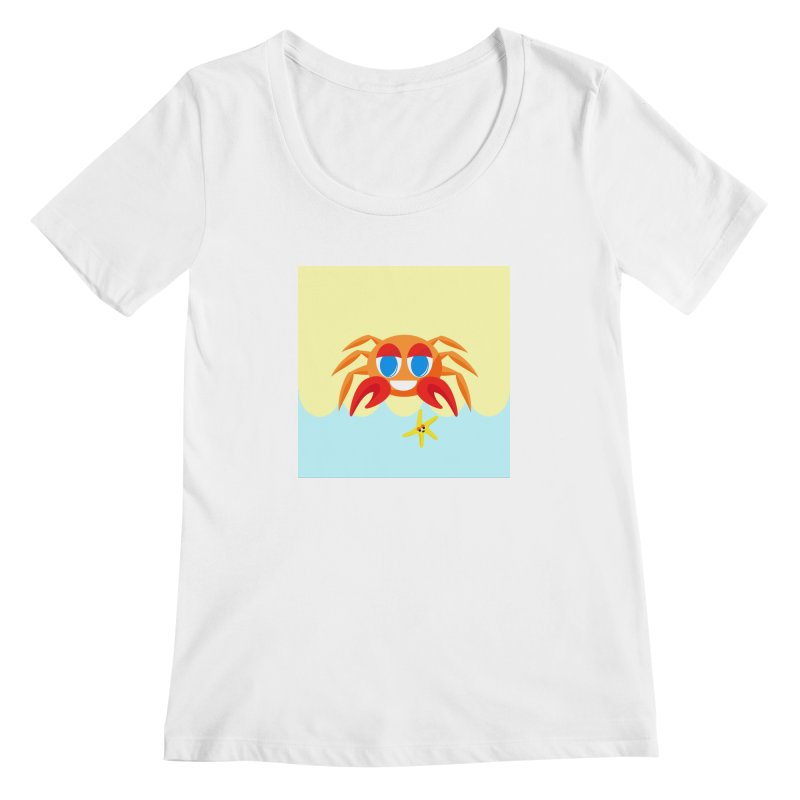Mr Crab on the Beach Women's Scoopneck by Shelly Still's Artist Shop