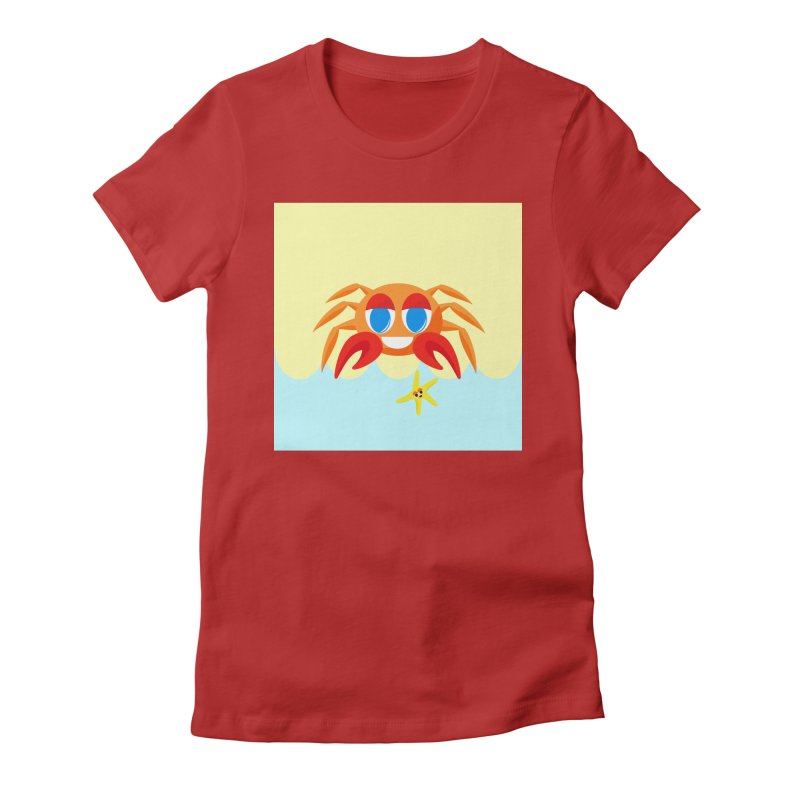 Mr Crab on the Beach Women's Fitted T-Shirt by Shelly Still's Artist Shop