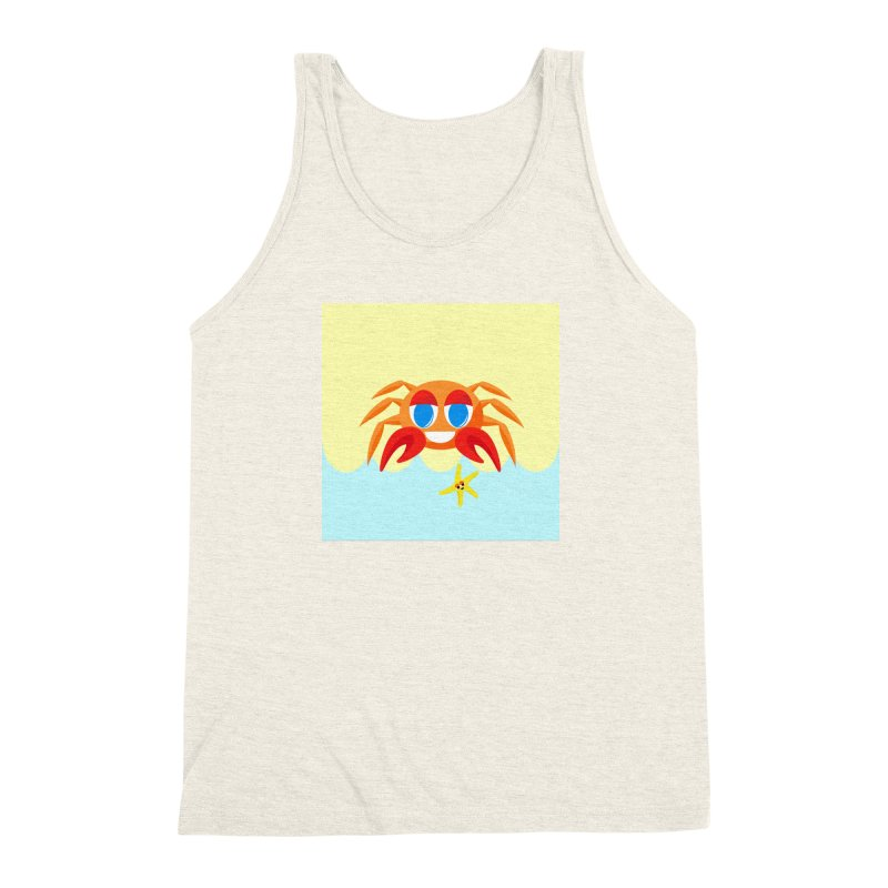 Mr Crab on the Beach Men's Triblend Tank by Shelly Still's Artist Shop