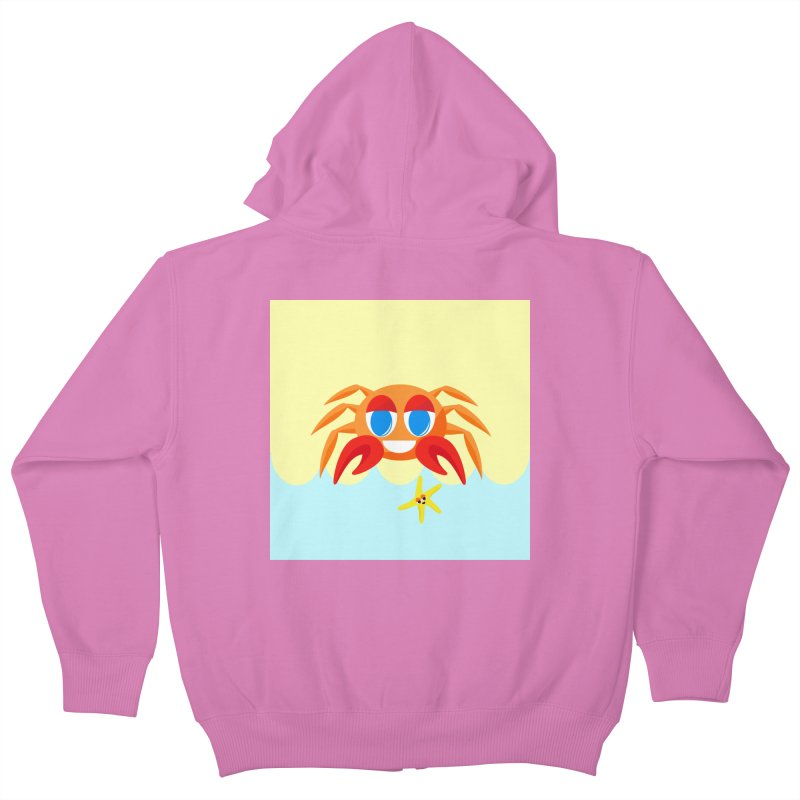 Mr Crab on the Beach Kids Zip-Up Hoody by Shelly Still's Artist Shop