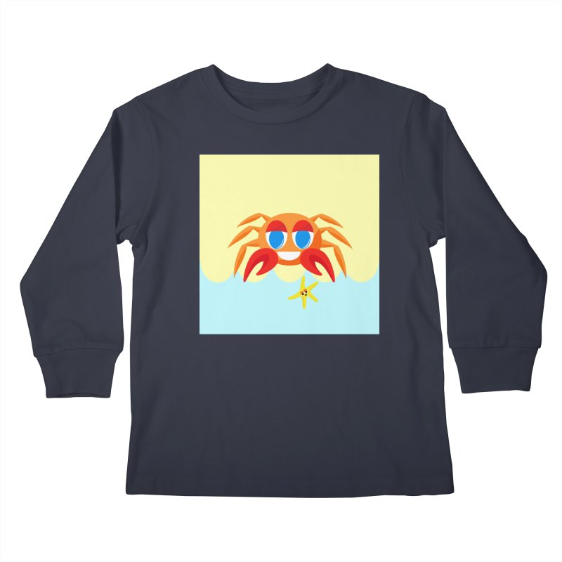 Mr Crab on the Beach Kids Longsleeve T-Shirt by Shelly Still's Artist Shop