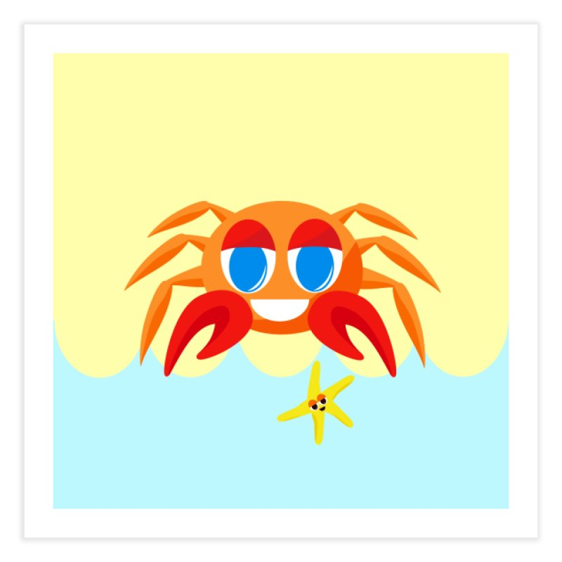 Mr Crab on the Beach Home Fine Art Print by Shelly Still's Artist Shop